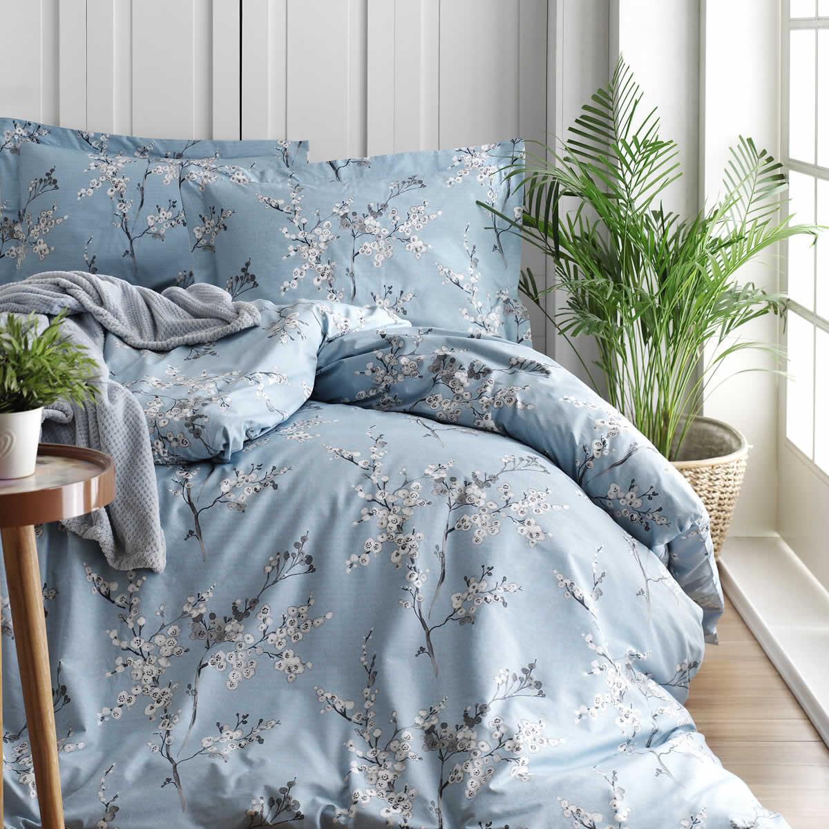 Chicory Mavi Nevresim Takımı - Çift Kişilik